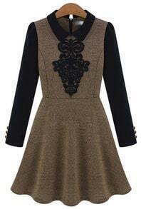 Khaki Contrast Long Sleeve Bow Ruffle Dress