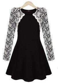 Black Contrast Lace Long Sleeve Ruffle Dress