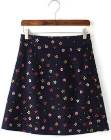 Blue Floral Woolen Skirt