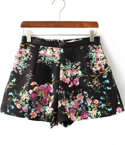 Black Fashion Rose Print Shorts