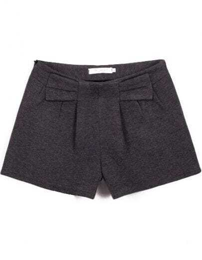 Grey Fashion Bow Woolen Shorts