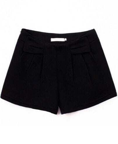 Black Fashion Bow Woolen Shorts