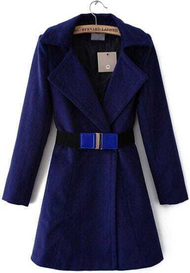 Blue Lapel Long Sleeve Ruffle Woolen Coat