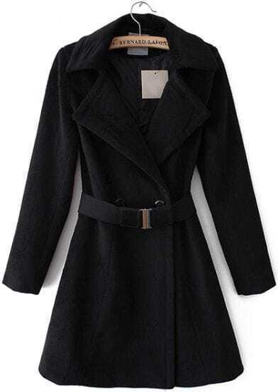 Black Lapel Long Sleeve Ruffle Woolen Coat