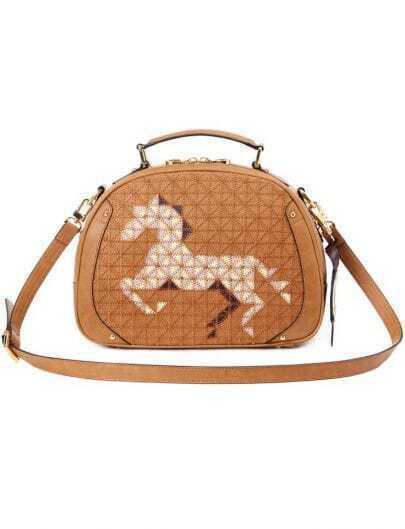 Khaki Horse Print Shoulder Bag
