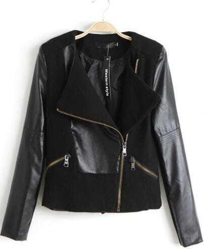 Black Contrast PU Leather Oblique Zipper Jacket
