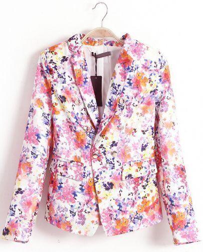 Pink Notch Lapel Long Sleeve Floral Blazer