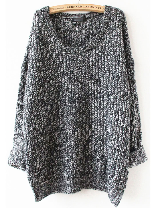 Grey Long Sleeve Loose Sweater grey loose plunge lantern sleeve pullover sweater