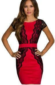Red Contrast Black Lace Backless Dress