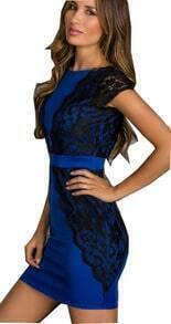 Blue Contrast Black Lace Backless Dress