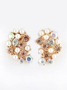 Gold Diamond Bead Stud Earrings