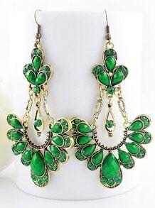 Green Drop Gemstone Gold Dangle Earrings
