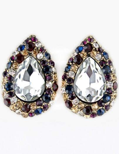 Multi Gemstone Retro Gold Drop Stud Earrings