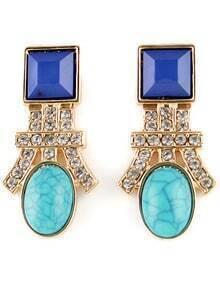 Blue Gemstone Gold Diamond Stud Earrings