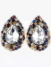 Multi Gemstone Retro Gold Drop Stud Earrings
