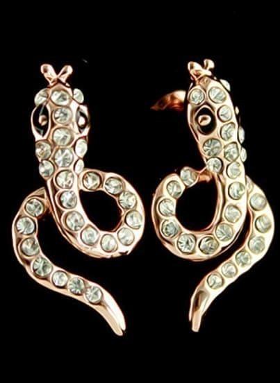 Gold Diamond Snake Stud Earrings