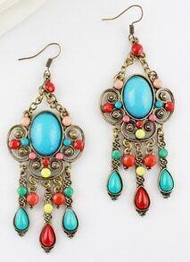 Blue Gemstone Retro Gold Hollow Dangle Earrings