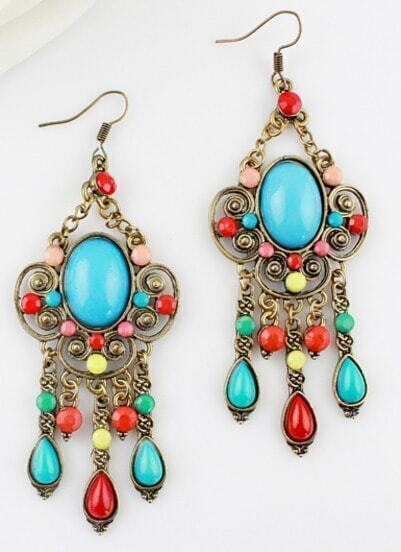Blue Gemstone Retro Gold Hollow Dangle Earrings