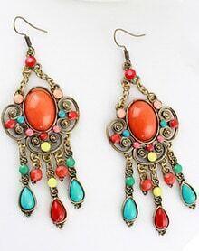 Orange Gemstone Retro Gold Hollow Dangle Earrings