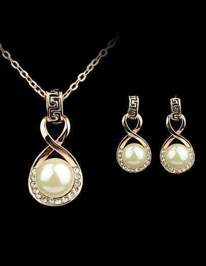 Gold Pearl Diamond Chain Necklace With Earrings pictures