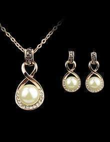 Gold Pearl Diamond Chain Necklace With Earrings