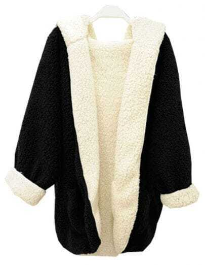 Black Contrast White Long Sleeve Fluffy Pockets Outerwear