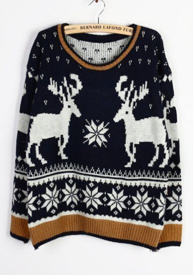 Navy Long Sleeve Deer Snowflake Christmas Sweater