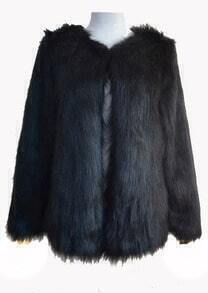 Black Long Sleeve Faux Fur Outerwear