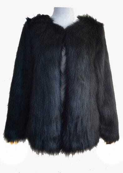 Black Long Sleeve Faux Fur Outerwear