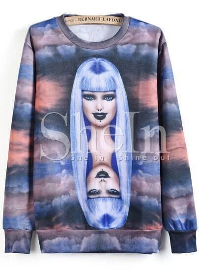 Purple Long Sleeve Woman Clouds Print Sweatshirt