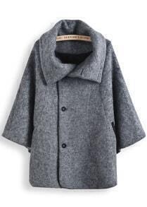 Grey Lapel Long Sleeve Tweed Cape Coat