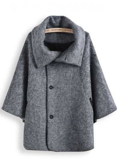 Grey Lapel Long Sleeve Tweed Cape Coat