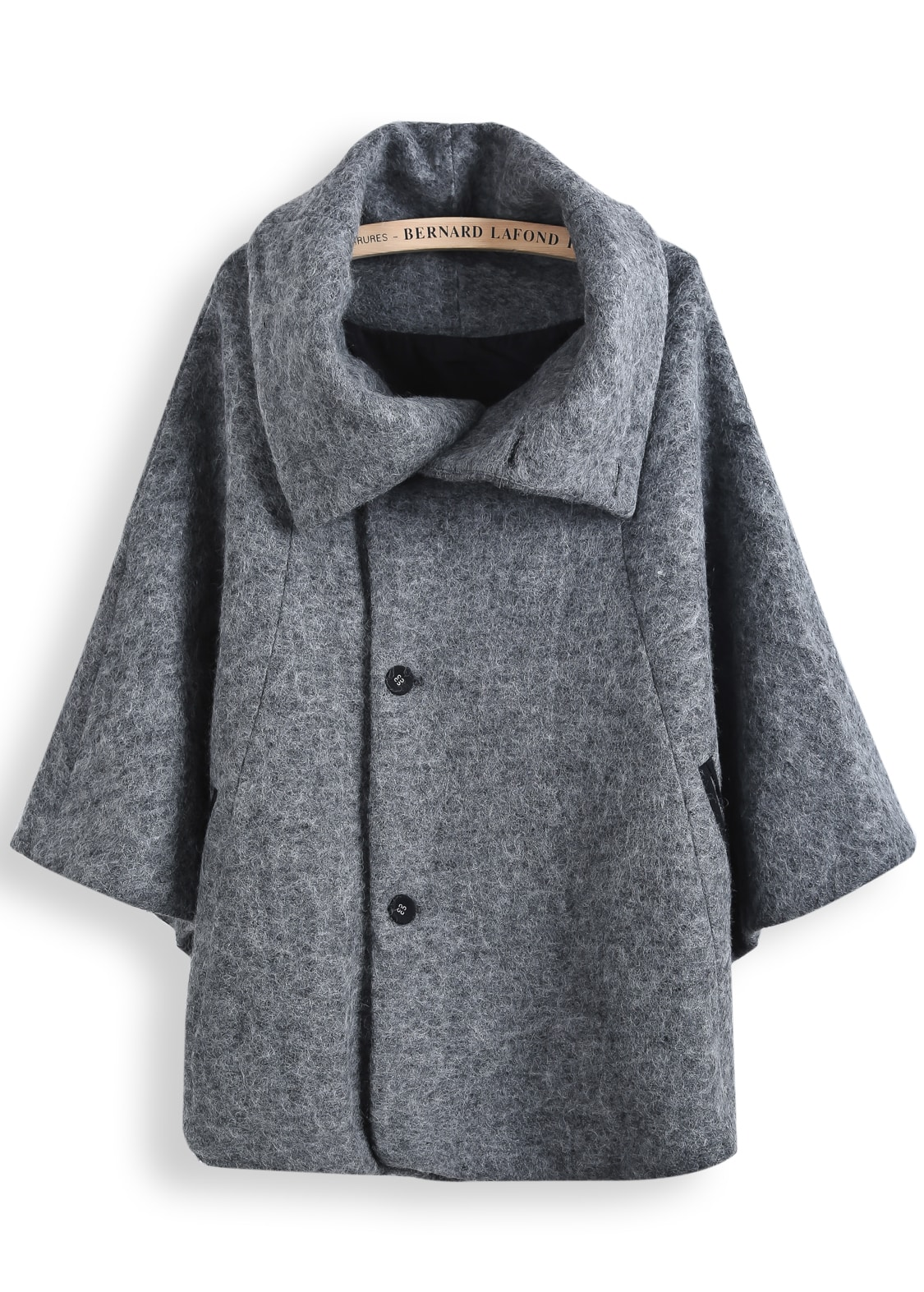 Grey Lapel Long Sleeve Tweed Cape Coat -SheIn(Sheinside)