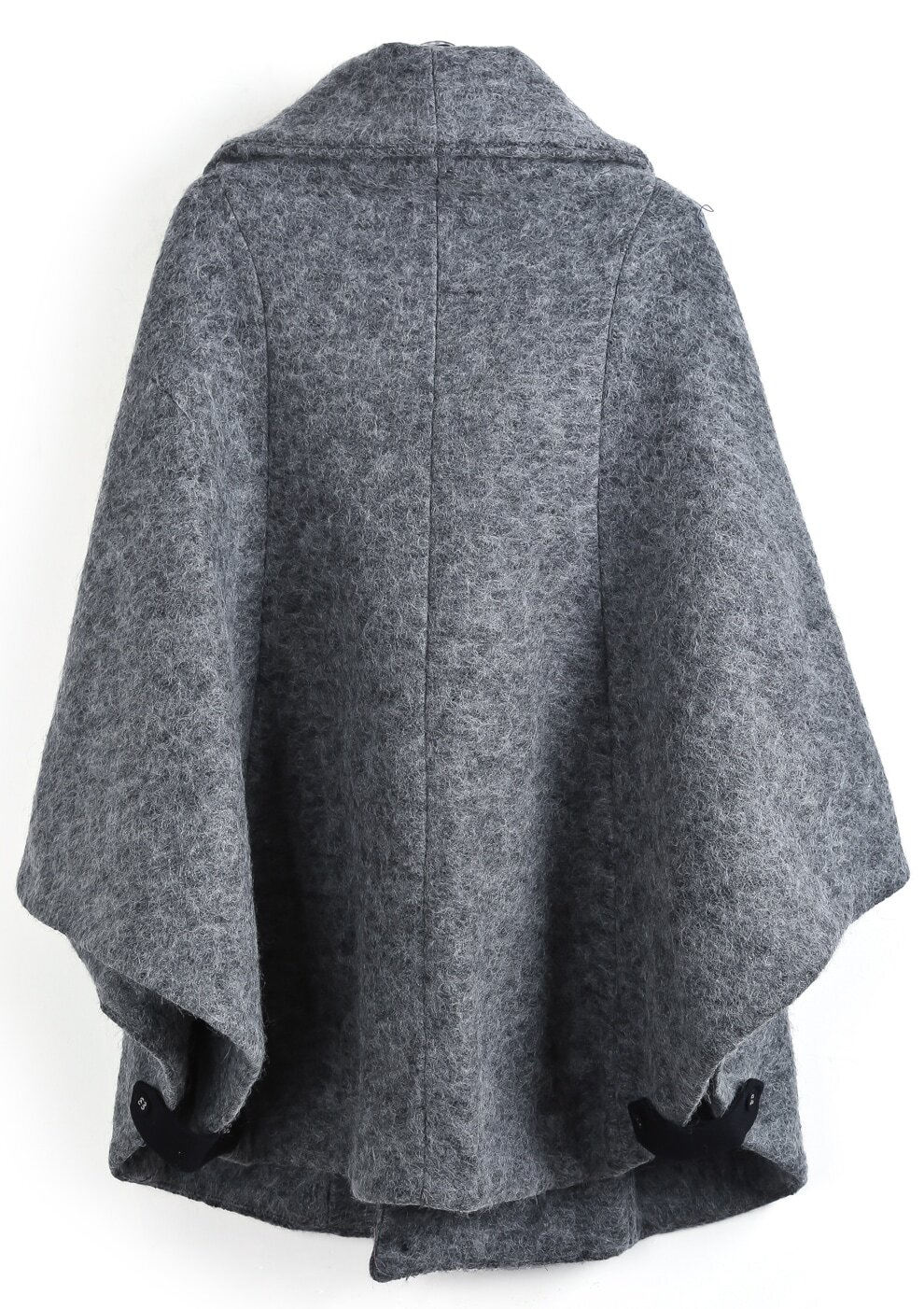 Grey Lapel Long Sleeve Tweed Cape Coat -SheIn(Sheinside)
