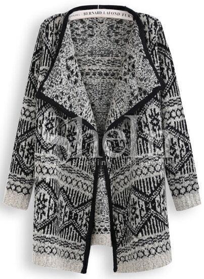 Black Long Sleeve Snowflake Geometric Pattern Cardigan