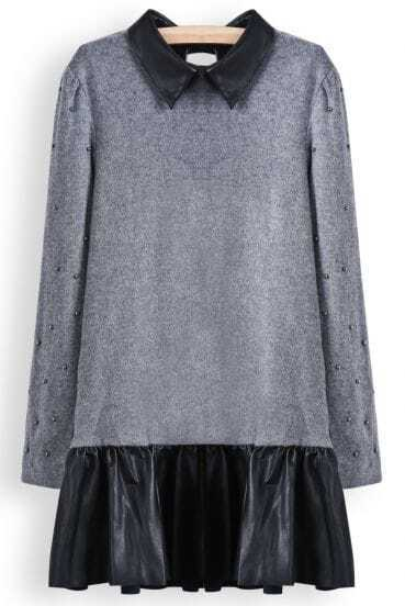 Grey Long Sleeve Bead Contrast PU Leather Pleated Dress