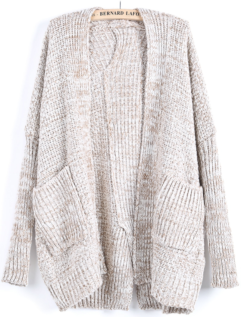 Apricot Long Sleeve Pockets Knit Cardigan -SheIn(Sheinside)