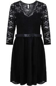 Black Contrast Lace V Neck Pleated Dress
