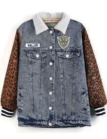 Blue Contrast Leopard Long Sleeve Denim Coat
