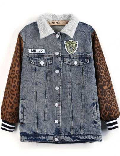 Blue Contrast Leopard Long Sleeve Denim Coat