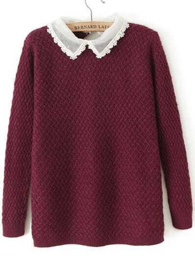 Wine Red Contrast Organza Collar Long Sleeve Sweater