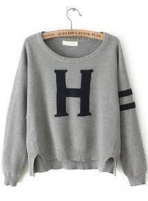 Grey Long Sleeve H Pattern Knit Sweater
