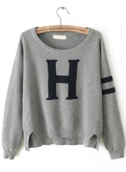 Grey Long Sleeve H Pattern Knit Sweater