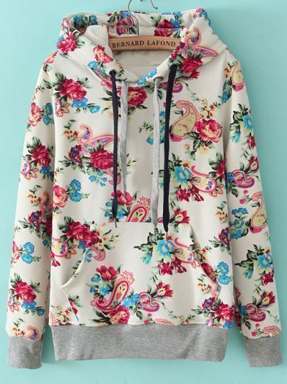 White Hooded Long Sleeve Floral Drawstring Sweatshirt