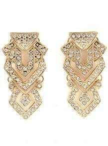 Gold Diamond Geometric Stud Earrings