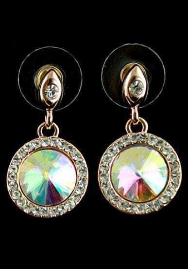 Multi Gemstone Gold Round Stud Earrings