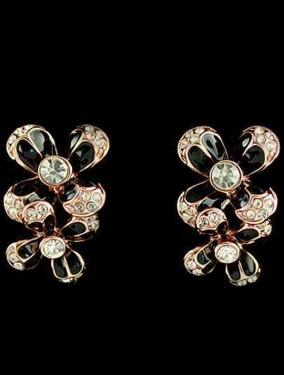 Black Glaze Gold Diamond Flower Stud Earrings