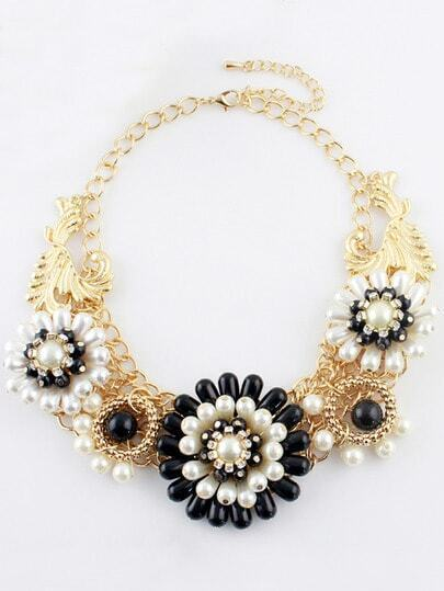 Black White Bead Flower Gold Chain Necklace