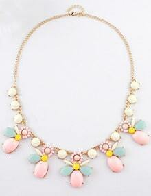 White Red Gemstone Gold Chain Necklace