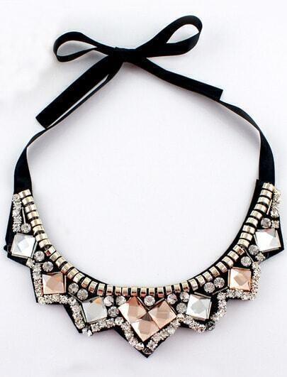 Black Diamond Ribbon Collar Necklace